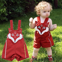baby file - 2017 INS baby girls embroidered fox romper kids infant toddler cotton cartoon rompers onesies open files Jumpsuits suspender pp pants shorts