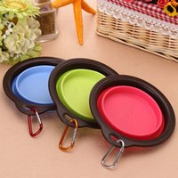 Wholesale Portable Dog Bowl Silicone Collapsible Feeding Feed Water Feeders Foldable Travel Food Bowls Dish colors Availiable