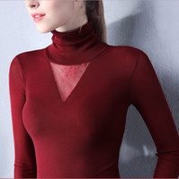 bell patch - Size S XXXL Women Turtleneck Sexy Slim Soft Full Sleeve T Shirts Lady Mesh Elegant Elastic Tops Tees Patch Lace