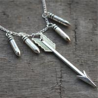 achat en gros de flèche balle-12pcs teen loup inspiré collier flèche et bulle charme collier bijoux en argent bijoux anciens