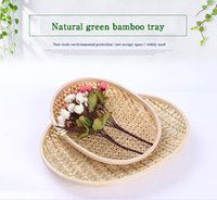 bamboo platter - Pure Manual Bamboo Weaving Round Platter Fruits Vegetables Disc Hotel Hotel Originality Decoration Basket