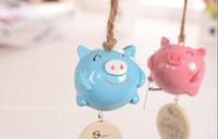 Wholesale Creative smile pig bells Rural metal pendant bells bells hang grocery doors and Windows Toy Musical Instrument