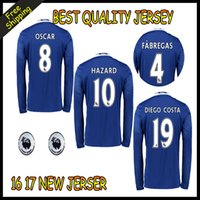Wholesale 2016 Thailand Quality Chelsea Soccer Jersey HAZARD FABREGAS TERRY DIEGO COSTA MATIC PEDRO Home Away Long sleeves football shirt