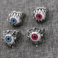 achat en gros de accessoires du diable de halloween-Baguette Vintage Dragon Claw Evil Eye Skull Anneau imitant Stainless Steel Biker Anneau Devil Eyeball Halloween Party Props Men Jewelry