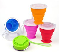 Wholesale DHL Shipping Mix Colors Outdoor portable Silicone Retractable Folded Cup Telescopic Collapsible multi functional Mugs
