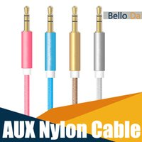 Wholesale 1M3FT AUX Cable mm Nylon Braided Cord Metal Connector Auxiliary Car Audio Cable For Headphones Cellphones Retail Ba