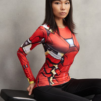 Wholesale 2017 Iron Man MK46 D Printed T shirts Women Captain America Compression Shirt Long Sleeve Tops Female Cosplay Costumes For Lady
