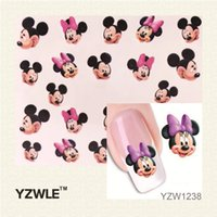 Wholesale YZWLE Hot Sale Water Transfer Nail Art Stickers Decal Elegant Light Blue Peony Flowers Design French Manicure Tools
