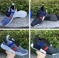 Wholesale Drop ship NMD R1 PK TRICOLOR men top quality running shoes with originals box size eur