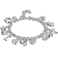 Wholesale Fashion psc Traditional Charm Accessories Lobster Channel Setting Zircon Silver Plated Bracelet cm Unisex For Gift