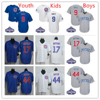 Wholesale 2016 World Series Champions patch Youth chicago cubs Javier Baez Kris Bryant Anthony Rizzo kids Boys baseball jersey stitch