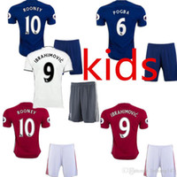 Wholesale best thai quality MancHester kids tit JERSEY IBRAHIMOVIC Pogba AWAY BLUE ROONEY MEMPHIS MARTIAL UnITED