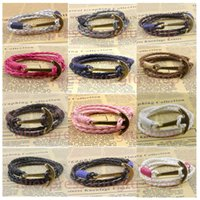 best friend bracelets - Best Fashion New KFHY179 Arrival Jewelry cm PU Leather Bracelet Men Anchor For Women Friend Gift