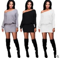 Wholesale hot Piece Fashion Women Clothing Quality Cotton Pure Color Autumn Trendy Sexy Off The Shoulder Bat Long Sleeve Package Hip Dress