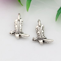 alloy boot sale - Hot Sales Antique Silver Zinc Alloy Sided Boots Charms Pendants x mm DIY Jewelry A