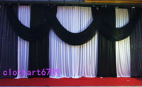 beige curtain valance - 3 m ft ft funeral backdrop church Stage Curtain with Sequins Backdrops with Swags Ice Silk Wedding Party Stage Decoration valance