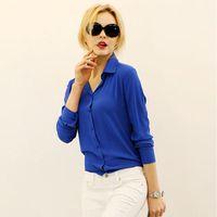 Wholesale Women Elegant Long Sleeve Work Wear Chiffon Shirt Blouse tops