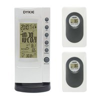 Wholesale TOP Brand DYKIE RF Wireless Weather Station Indoor Outdoor Thermometer Hygrometer Digital Alarm Clock two Remote Transmitters