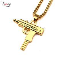 Wholesale Hot Sale PC Uzi Gold Chain Hip Hop Long Pendant Necklace Men Women Fashion Brand Gun Shape Pistol Pendant Maxi Necklace HIPHOP Jewelry