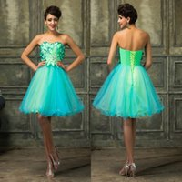 Wholesale Grace Karin New Fashion Sweetheart Green Sexy Beaded Short Graduation Dresses Lace up Floral Ruffles Tulle Cocktail Gowns CL007579