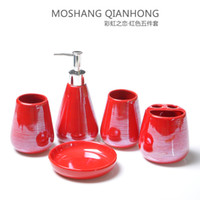 Wholesale pearly lustre glaze ceramics bathroom set European contracted design bathroom supplies wash cup lotion bottle brush holder soap dish