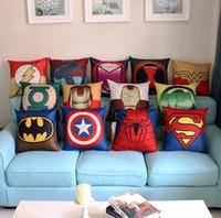Wholesale Super Hero Body Pillow Cover Cotton Linen Pillowcase Superman Iron Man US captain pillowcase JF