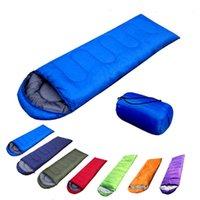 Wholesale 7 colors Multifuntional Outdoor Thermal Sleeping Bag Envelope Hooded Travel Camping Hiking Water Resistant Sleeping Bags Splicing Single