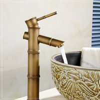 Wholesale Bamboo antique bathroom basin sink faucet with single handle single hole golden bathroom water mixer taps