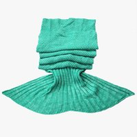 Wholesale Mermaid Tail Blanket Super Soft Hand Crocheted cartoon Sofa Blanket air condition blanket siesta Large Size Drop Shipping