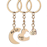 big love family - hot sale Fashion accessories key rings big middle little sisters split love family in metal keychains