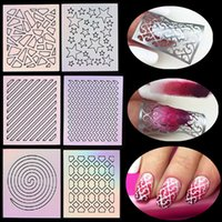 Wholesale Sheet Nail Art Thin Vinyls Hollow Guide Stencil Sticker Styling Polish Gel D Laser Irregular Image Decal Manicure Template