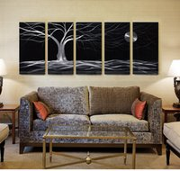 Wholesale High Quality D handmade black and white aluminum metal painting wall arts Long lasting with frame for decoration or gifts
