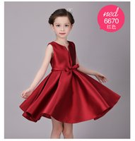 baby dress manufacturer - girls pageant dress solid red color sleeveless princess dresses for kids baby girls dresses manufacturer