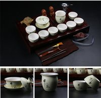 Wholesale YGS Y281 Chinese Kung Fu Tea Set Drinkware Purple Clay ceramic include Tea Pot Cup Tureen Infuser Natural wood Tea Tray Chahai