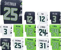 Wholesale Elite mens women youth american Football Stitched Russell Wilson Fan Tyler Lockett Marshawn Lynch White Blue Jerseys Mix Order