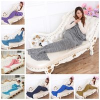 100% Acrylic acrylic beds - Adults Mermaid Tail Blanket Mermaid Knitted Blankets Mermaid Bedding Wrap Blanket Sleeping Bag Handemade Air Condition Sofa Blankets F132
