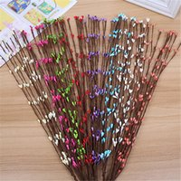Wedding artificial twigs - Cheap cm Bud Artificial Branches Twigs Iron Wire For Wedding Decoration DIY Scrapbooking Decorative Wreath Fake Flowers