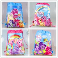 Wholesale my little pony cartoon non woven fabrics drawstring backpack schoolbag shopping bag