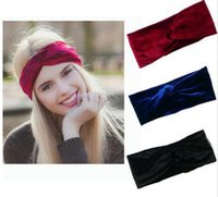 basic knotted - 10pcs girl cross Velvet Headwrap women pleuche Hair Bands Fabric Head Wrap Twisted Knot Basic polka dot headbands hair Accessories FD6629
