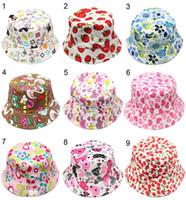 Wholesale 30 Styles Children Bucket Hats Gilligan Kids Stingy Brim Hats Floral Printing Fisherman Beach Sun Visor Sale Folding Bowler Caps