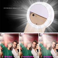 Wholesale Universal Rechargeable Li Battery Selfie Luminous Ring Phone Mount Flash Light Up For Iphone Samrtphones Ipad Tablet Color boxes packing