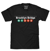 al por mayor brooklyn camiseta xl-Camiseta 100% de los hombres del ALGODÓN Los hombres del puente NYC de Brooklyn cortan la camiseta de la manga