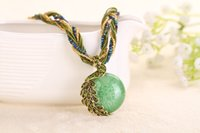 Wholesale Vintage Retro alloy jewelry pendant necklace Bohemia folk style jewelry accessories peacock color mix lady Necklace collocation