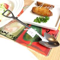 Wholesale Length cm The new creative stainless steel spade spoon scoop Farmer Tools Engineer farmer Tool large spoon