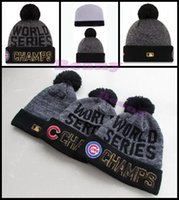 Wholesale World Series Chicago Cubs Beanie Champs Pom Knit Hats Sports Caps For Men Women Cheap Winter Wool Beanies