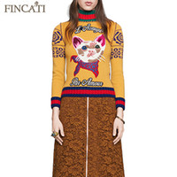 Wholesale Runway Design Autumn Winter Women s Cashmere Blending Cat Embroidered Jacquard Back Yellow Pullover Sweater Pulls Jersey