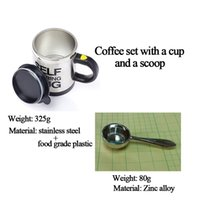 Wholesale Coffee Set Wit A Cup and A Scoop Self Stirring Coffee Mug Coffee Set Combination Automatic Self Mixing Cup and Coffee Scoop