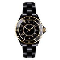 Precio de Cerámica blanca reloj de pulsera-Relojes de lujo de la marca de fábrica de la señora White / Black Rose Gold de los relojes de cuarzo de la alta calidad para las mujeres Relojes exquisitos de las mujeres de la manera