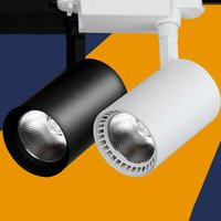Wholesale Black White Shell COB W W Led Track Lights Angle Warm Natural Cool White Led Ceiling Spot Lights AC V CE ROHS