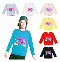 Wholesale Trolls Big Girls Long Sleeved Cotton Styles Raglan T Shirt Carton Tees White Tees For Baby Girls Printed Trolls Costumes For Baby Clothes